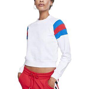 Urban Classics Women's Ladies Sleeve Stripe Crew Sweatshirt, Multicolour (White/Brightblue/Firered 01557), X-Small