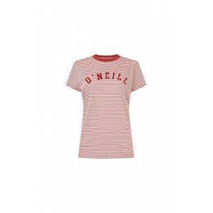 O'Neill Essentials STRP T-Shirt for Women, Womens, Short0Sleeved T-Shirt, 0A7312, Multicoloured (White AOP W/red), L