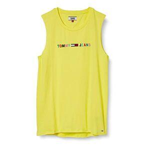 Tommy_jeans Tommy Jeans Women's TJW Multicolor Linear Logo Tank Vest Top, Yellow (Frozen Lemon Zio), 12 (Size:L)