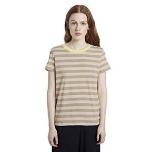 Tom Tailor Denim Women's Rundhals T-Shirt, 23051-Beige White Stripe, X-Large