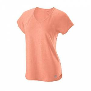 Wilson Women's V-Neck Tennis T-shirt, W Training V-Neck Tee, Polyester/Nylon, Orange (Papaya Punch), Size XS