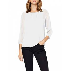 Street One (Sts9f) Street One Women's 315252 3/4 Arm 2in1 Chiffonshirt mit Top T-Shirt, Off White, 16