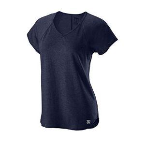 Wilson Women's V-Neck Tennis T-shirt, W Training V-Neck Tee, Polyester/Nylon, Blue (Peacoat), Size XS