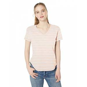 Daily Ritual Lightweight Lived-in Cotton Roll-sleeve V-neck T-shirt,multi(Pink Stripe) Manufacturer size : X-Large (EU 2XL)