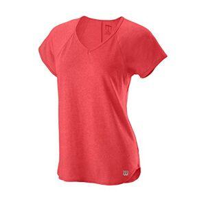 Wilson Women's V-Neck Tennis T-shirt, W Training V-Neck Tee, Polyester/Nylon, Red (Cayenne), Size XS