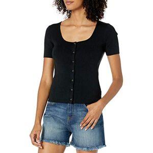 The Drop Women's Maxine Short Sleeve Square Neck Button Front Rib Cardigan, Black, XS