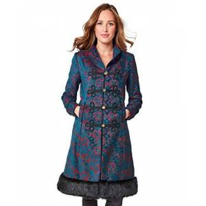 Joe Browns Women's Elegant Jacquard Coat, Blue (Teal/Red A), 8 (Size:8)