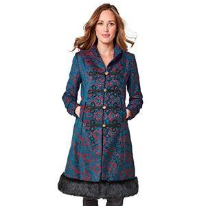Joe Browns Women's Elegant Jacquard Coat, Blue (Teal/Red (Size:18)