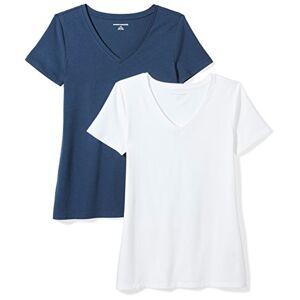 Amazon Essentials 2-pack Short-sleeve V-neck T-shirtRed/Light Grey Heather- XS Navy/White- S