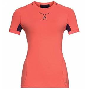 ODLO Women's Ceramicool Pro Shirt S/s Cn Kniited Tank Top, Multicolour (Hot Coral/Pickled Beet 30321), 32 (size: Large)