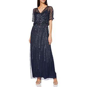 Figure Clothing Amelia Rose Women's Daphne Short Sleeve Embellished Maxi Dress Formal Night, Navy, X-Small