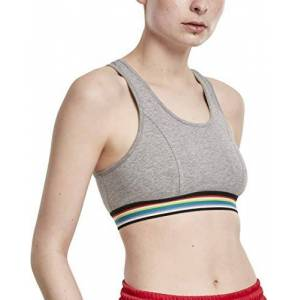 Urban Classics Women's Ladies Multicolor Taped Bra Sports, Grey (Grey 00111), C (Size: X-Large)