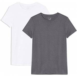 Meraki Amazon Brand - MERAKI Women's Short Sleeve Crew Neck T-Shirt Pack of 2, Multicoloured (Blackened Pearl/White), 8, Label:XS