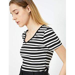 Koton Women's T-Shirt mit Streifen, Black (Black Striped), Large