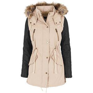 Urban Classics Women's Jacke Leather Imitation Sleeve Parka Jacket, Multicoloured (Sand/Blk), (Size: Large)