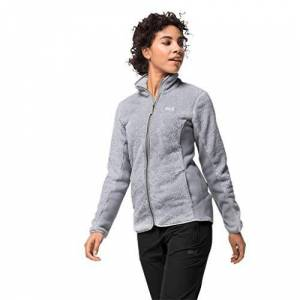 Jack Wolfskin Women Pine Leaf Fleece Jacket - Slate Grey Stripes, Size 6