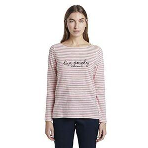TOM TAILOR Women's U-Boot T-Shirt, 22099-Off-White Pink Stripe, X-Large