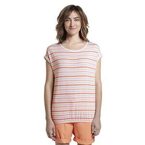 TOM TAILOR Women's Streifentop Blouse, 23990-Melon Beige Stripe V, Xx-Large