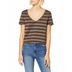 ONLY Women's Onlalexa S/s V-Neck Top JRS T-Shirt, Multicolour (Beech Stripes: Silver), Large