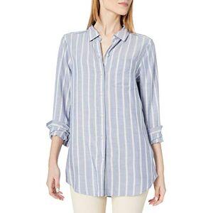 Daily Ritual Amazon Brand - Daily Ritual Women's Soft Rayon Slub Twill Long-Sleeve Button-Front Tunic, Chambray Blue Awning Stripe , XX-Large