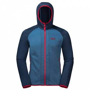 Jack Wolfskin Men's Hydro Hooded Fleece Jacket, Indigo Blue, Size 6