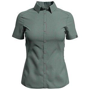 Odlo Women's Kumano Short Sleeve Blouse, Cream de Menthe Concrete Grey-Check, XS