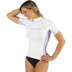 Cressi Women's Lycra Skin Short Sleeve Rash Guard UV Sun Protection 50+, White, M/3
