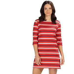 Regatta Women's Harlee Coolweave Cotton Jersey Dress, Fiery Red Stripe, Size 12