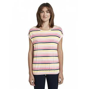 TOM TAILOR Women's Loose Shirt T, 21375-Off-White Multicolor, XXX-Large