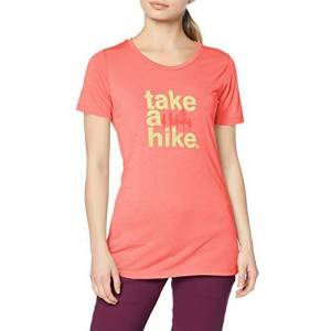 Columbia Women's Outdoor Elements III T-shirt, Red (Coral Bloom, Take a Hike), XS
