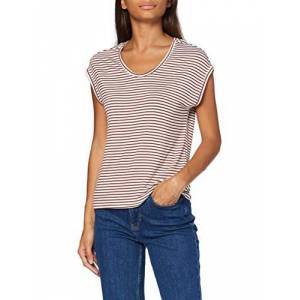 ONLY Women's Onlwilma S/s Top JRS Noos T-Shirt, Stripes: Cloud Dancer Burnt Henna, X-Small