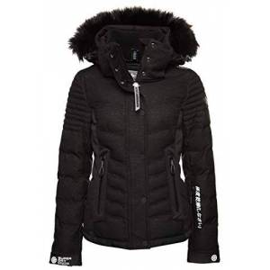 Superdry Women's LUXE PUFFER Snow Jacket, Onyx Black Frost, Size 6