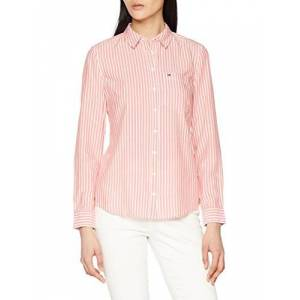 Tommy_jeans Tommy Jeans Women's Regular Stripe Shirt, Pink (Spiced Coral / Bright White 901), X-Large