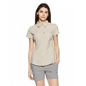 Columbia Women's Silver Ridge Short Sleeve Hiking Shirt, Nylon, Fossil, Size Medium