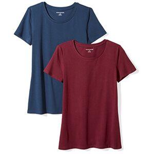 Amazon Essentials Women's 2-Pack Short-Sleeve Crewneck Solid T-Shirt, Multicolour (Burgundy/Navy), X-Small