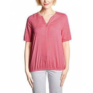 Cecil Women's 341379 Lorry Blouse, Multicolour (Neo Coralline Red 21664), Large