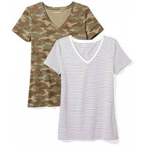 Amazon Essentials 2-pack Short-sleeve V-neck Patterned T-shirt Multicolour (White Stripe/Camo Print), Large