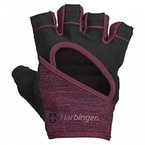 Harbinger FlexFit, Women's Weight Lifting Gloves, Wash and Dry Leather Vented StretchBack Mesh Gym Gloves, Black/Merlot, Small