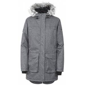Trespass Thundery, Black/Silver Grey, XL, Warm Waterproof Padded Winter Jacket for Women, X-Large, Multicolour