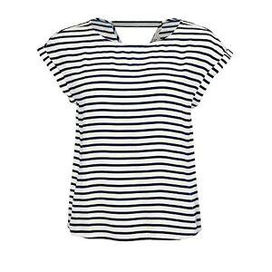 Tom Tailor Denim Women's Sporty AOP Bluse Blouse, 21355-Navy White Stripe, X-Large