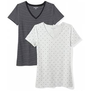 Amazon Essentials 2-pack Short-sleeve V-neck Patterned T-shirt Multicolour (Black Stripe/Heart Print), Medium (size:):)