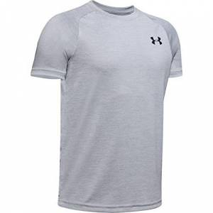 Under Armour Tech 2.0 SS, Breathable and comfortable sports t-shirt, short-sleeved and quick-drying gym clothes for boys Boys, Grey (Mod Gray / Black), YL