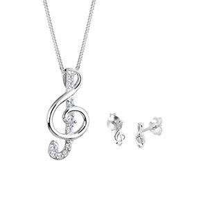 Elli Women's 925 Sterling Silver Xilion Cut Cubic Zirconia Jewellery Set Necklace Length of 45 cm