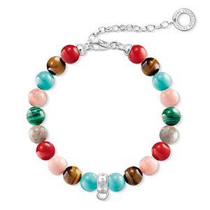 """Thomas Sabo """"Multicoloured Jasper/Tiger's Eye/Simulated Turquoise/Simulatedmalachite/Dyed Bamboo Coral Charm Bracelet of Length 18.5cm"""