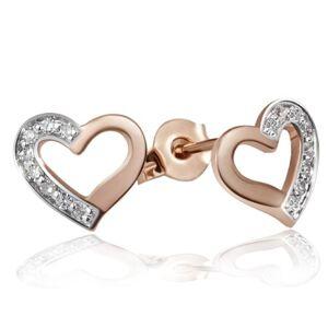 Goldmaid Women's Earstuds Heart Red Gold 16 Diamonds 9ct