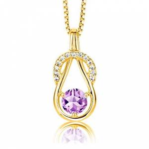 ByJoy Women's 925 Sterling Silver Pendant Amethyst on 45 cm Chain Rose Gold Plated Necklace