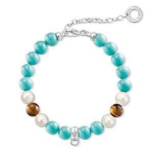 "Thomas Sabo ""Turquoise, Blue, White"" Freshwater Pearl/Simulated Turquoise/Tiger's Eye Turquoise Charm Bracelet of Length 21 cm"