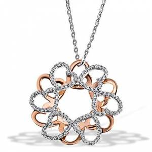 Goldmaid Women's 925 Sterling Silver Necklace part Red Gold-Planted with white Zirconia