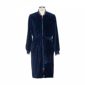 Mve sporty robe with zip, 100% cotton, deep sea, in size S
