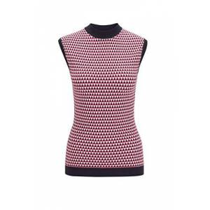 Boss Womens Walinda Slim-fit Sleeveless top with Knitted Jacquard Front